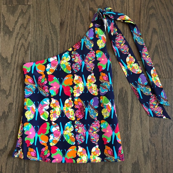 e8587ad1409 Lilly Pulitzer Tops - Lilly Pulitzer One Shoulder Silk Butterfly Blouse
